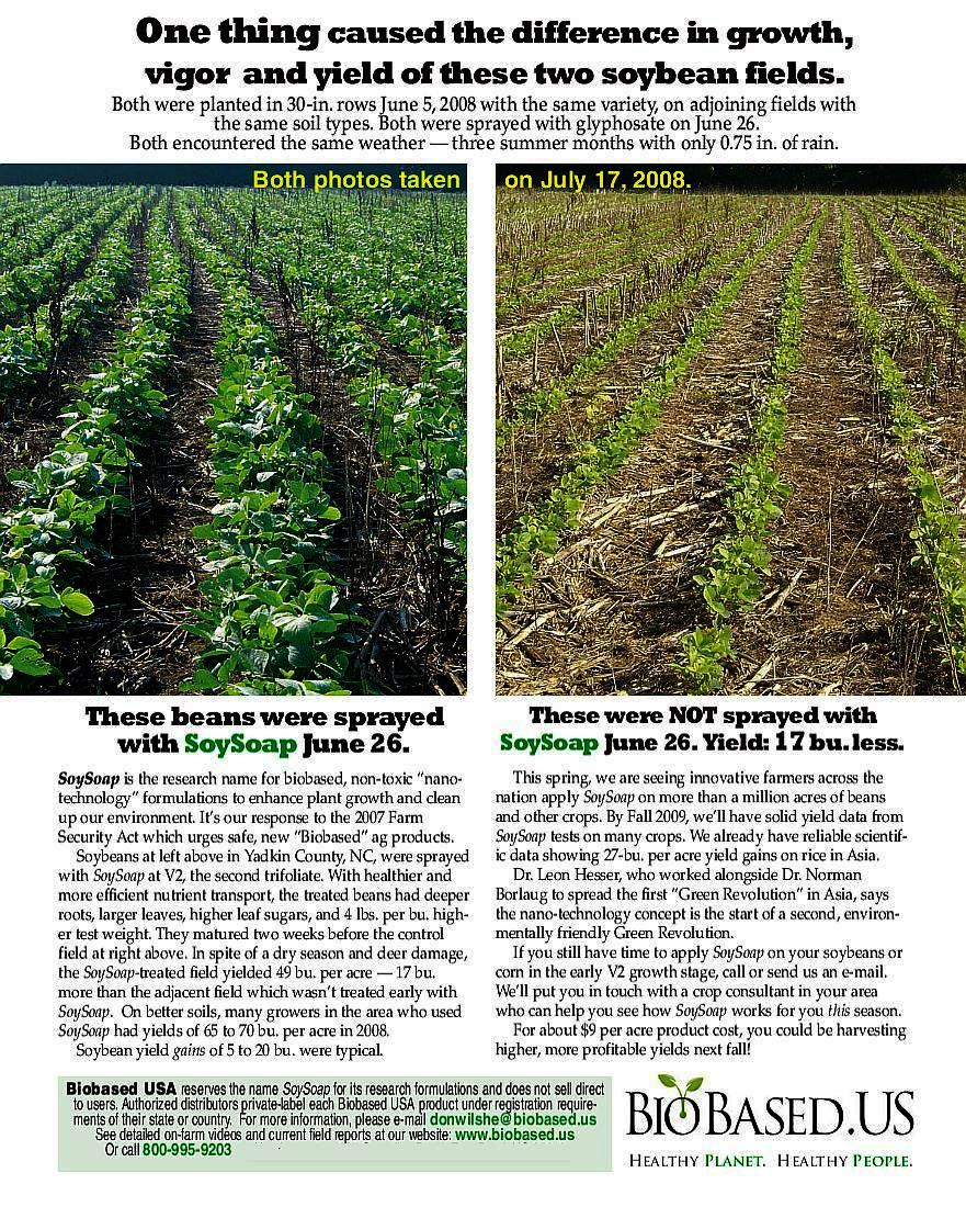 Soysoap biobased usa picotechnology pico science increases nc soybean farmer video interviewed by rick patton of ag professional magazine about soysoap treated vs untreated soybeans the publisher was for 15 years a nvjuhfo Images